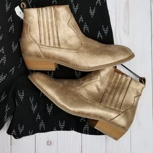 Gold Metallic Ankle Boots